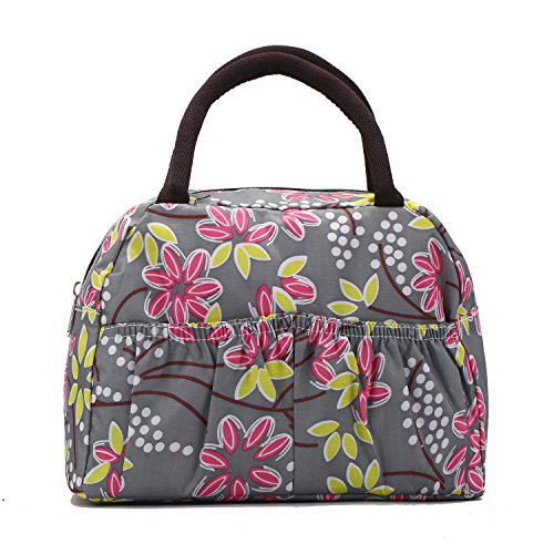 Fashion Cute Printed Picnic Lunch Bag Tote Lightweight Oxford Fabric Grocery Handbag for Kid Lady and Girl , Leave - 1