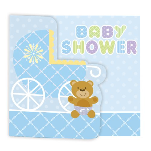 Creative Converting Baby Shower Teddy Baby Blue 8 Count Enhanced Invitations
