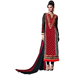 Stylo Fashion Women's Un-Stitched Dress Material (Red_Free Size)