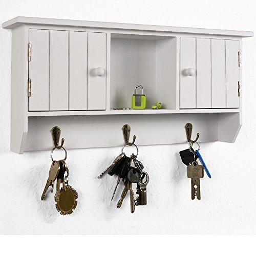 Armoire à clés avec 3 crochets métalliques - 2 compartiments - Stockage central