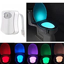 LED Toilet Light, SOLMORE Colorful Sensor Motion Activated Home Toilet Bathroom Night Lamp ,Toilet Bowl Light ,Sensor Seat Nightlight 8-Color Changes