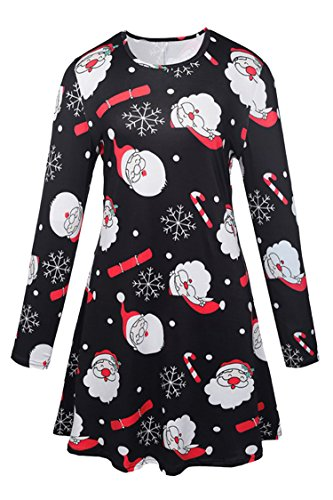 Pink Queen Girls Party Christmas Mr Santa Claus Printed Skater Dress