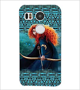 PrintDhaba Warrior Girl D-5861 Back Case Cover for LG NEXUS 5X (Multi-Coloured)