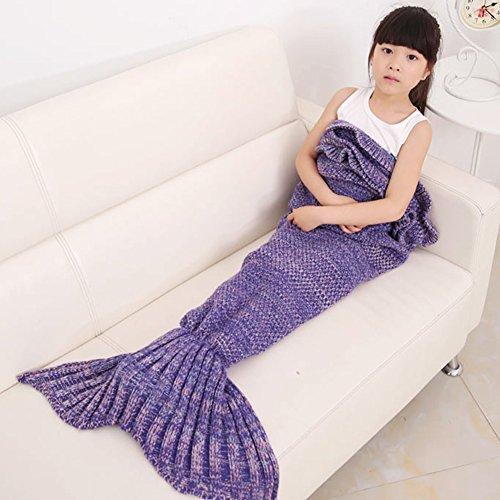 Bambini Crochet maglia sirena coda coperta, okayshop Handcraft Sacco a pelo per ragazze, tutte le stagioni coperta divano salotto, 135cmx65cm (134,6x 66cm) Viola