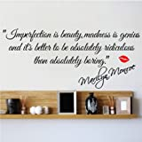 Newsee Decals M IMPERFECTION IS BEAUTY-MARILYN MONROE WALL STICKER QUOTE DECAL ART Decor