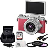 Panasonic DMC-GF7KP Compact System Camera (DSLM) with 12-32mm Kit Lens + 32GB Bundle 5PC Accessory Kit. Includes SanDisk Ultra 32GB Class 10 SDHC Memory Card (SDSDUN-032G-G46) + 3 Piece Filter Kit (UV-CPL-FLD) + Micro HDMI Cable + Carrying Case + Microfiber Cleaning Cloth (Pink Silver)