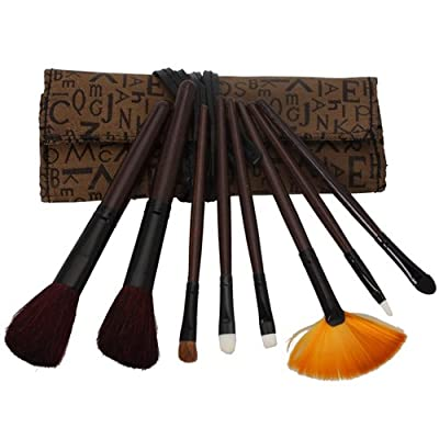 8pcs Professional Cosmetic Makeup Brush Set with Letter Bag Brown 21a