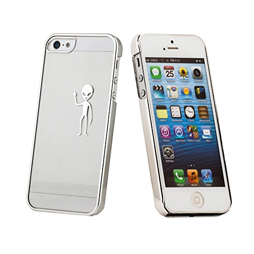 Amjimshop Vovotrade(Tm)Fashion Luxury Ufo Aliens Hold Hard Skin Case Cover For Iphone 5 5G 5S (Silver)