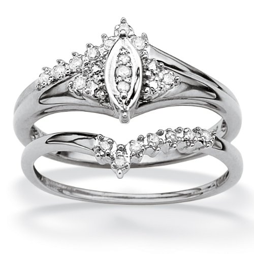 PalmBeach Jewelry 10k White Gold Round Diamond Ring Set