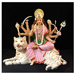 Lenox Durga Hindu Goddess of Strength Figurine Idol White Tiger Battle