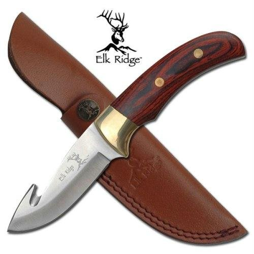 Elk Ridge Pakkawood Handle Guthook Hunting Knife Sheath