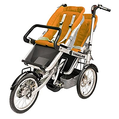 Tagalan 3 Wheels Mother Baby Bike Stroller Folding Bicycle 16inch Pushchair Bike Carrier 3 in 1 With Canopy (2 Seats, Orange)