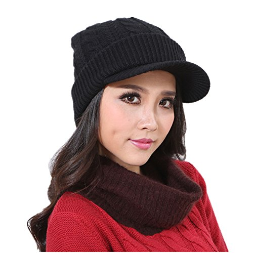 Home prefer womens newsboy hat thick cable knit snow ski for Home prefer hats