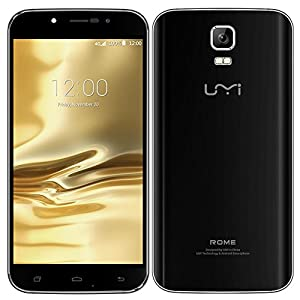 PADGENE® UMI ROME Sim Free Unlcocked 3G/4G(FDD-LTE) Mobile Phones, 5.5 inch 1280x720 HD Screen Android5.1 Smart Phone MTK 6735 OCTA CORE(3G ROM,16GB RAM)Dual Sim Dual Camera(8.0MP Rear Camera,2.0 Front Camera) GPS Bluetooth 4.0 Cellphone(UMI 5.5/Black)