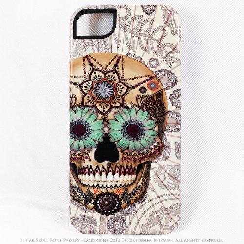 Special Sale Premium Sugar Skull iPhone 5 5s TOUGH Case - Unusual iPhone 5 Case with Dia De Los Muertos Artwork - Bone Paisley