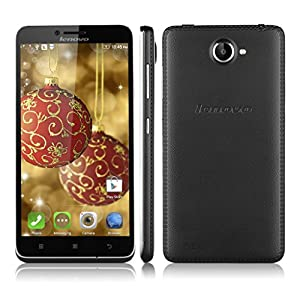 Lenovo A816 5.5'' Unlocked 4G Smartphone Android 4.4 MSM8926 Quad Cores 1.2GHz 1GB/8GB Dual SIM Cellphone WIFI GPS 8MP 3G SIM-Free Phablet with Uique Leather Back Shell(Black)