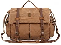 Military Vintage Laptop Canvas Leather Messenger Bag - Serbags Brand
