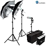 LimoStudio 600W Photography Triple Photo Umbrella Light Lighting Kit, Video, and Portrait Studio Umbrella Continuous Lighting Kit With Three 45 Watt, 6500K Day Light Balanced CFL Photo Bulbs, Black/Silver Reflective Photo Umbrellas, Stands, and Carrying Case, AGG912