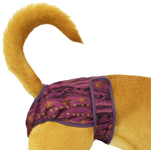 Seasonals Washable Dog Diaper, Fits Petite Dogs, Purple Batik