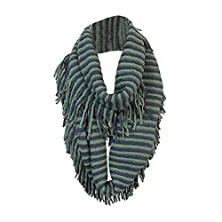 Gray and Mint Bohemian Knit Striped Infinity Loop Scarf Wrap w/ Fringe Tassels