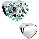Pugster I Love You To The Moon And Back Crystal Birthstone Heart Charm Sale Beads for Pandora Bracelet