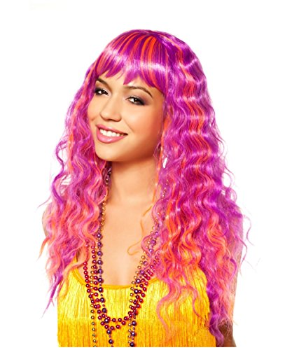 Candy Glam Purple Orange Curly Wavy Adult Womens Halloween Costume Wig
