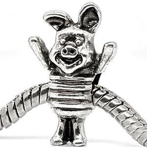 Charm Buddy Silver Plated Piglet Charm Charm Bead, Fits Pandora/Troll /Chamilia Bracelets #1580