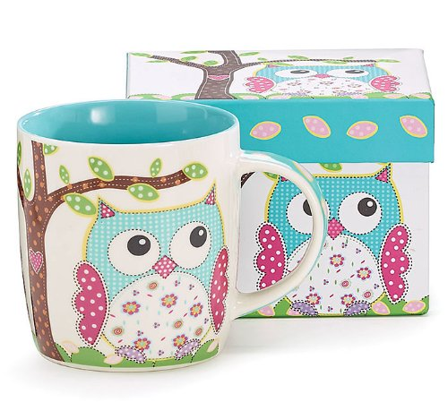 Whimsical Calico Owl Bone China Coffee Mug 14 Ounces With Decorative Gift Box