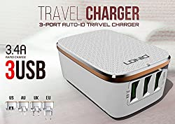 Fidelis (White) Premium LDNIO 3 Ports USB Rapid charging Mobile Charger 5V, 3.4 A for iphone, Samsung and Other Smart Phones & Tablets - 1 Year Warranty