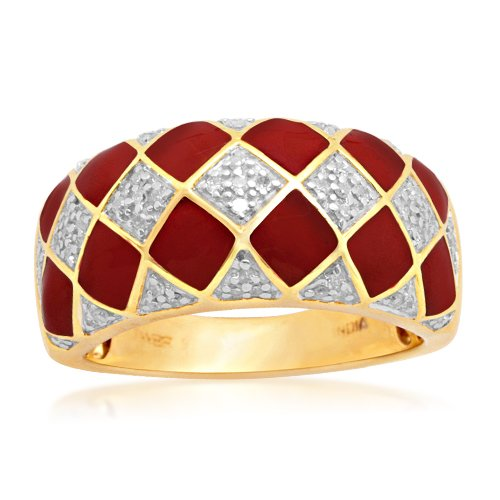 18k Gold Overlay Sterling Silver Enamel Checkerboard Diamond Ring (1/6 cttw, I-J Color, I2-I3 Clarity), Size 6
