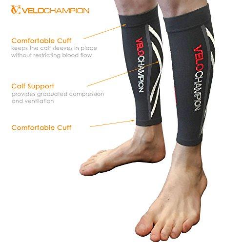 VeloChampion Calentadores de pantorrilla de compresion Negros - Compression Calf Sleeves
