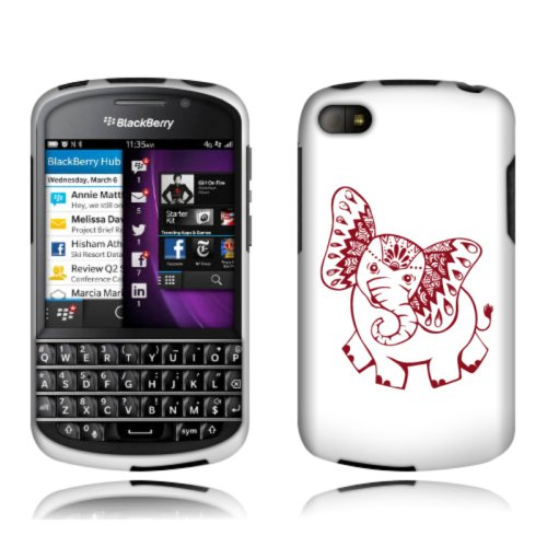 Fincibo (Tm) Protector Cover Case Snap On Hard Plastic Front And Back For Blackberry Q10 - Cute Indian Elephant Baby