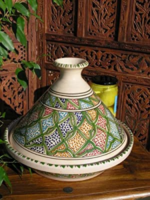 Large Patterned Cooking Tagine In Green by Maroque