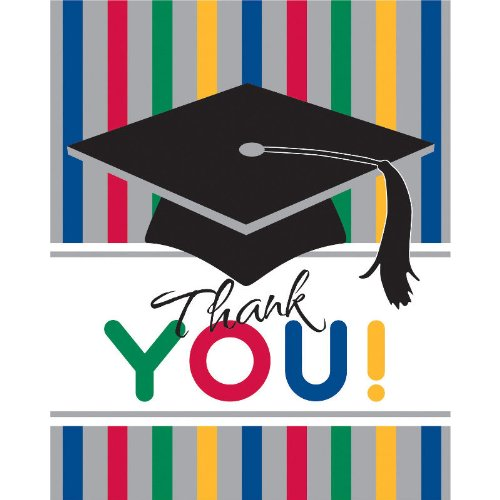 Graduation Stripes Thank You Notes