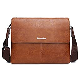 Tecool Men\'s Leather Briefcase Laptop Bag Messenger Bag for Business Note Book Shoulder Bag for Work Place College School Bag, Light Brown