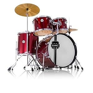 mapex vr5254tdrzz voyager standard 5 piece drum set with cymbals dark red musical. Black Bedroom Furniture Sets. Home Design Ideas