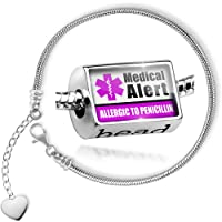 Charm Set Medical Alert Purple Allergic to Penicillin - Bead comes with Bracelet , Neonblond by NEONBLOND