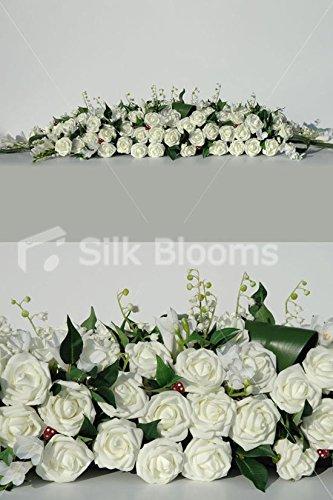 Enorme avorio rosa bianco fresia Long Low top tavolo composizioni