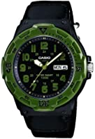 Casio MRW-200HB-1BVEF Men's Quartz Watch with Black Dial Analogue Display and Black Strap