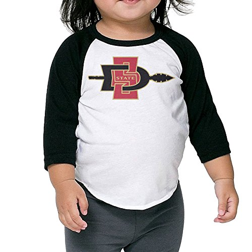 San Diego State Aztecs Black Boys And Girls Long Raglan 3/4 Sleeve Kids Cute T Shirt For Child (Paracetamol Kids compare prices)