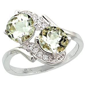 14k White Gold Natural Green Amethyst Mother's Ring Round 7mm Diamond Accents, 3/4 inch wide, size 5