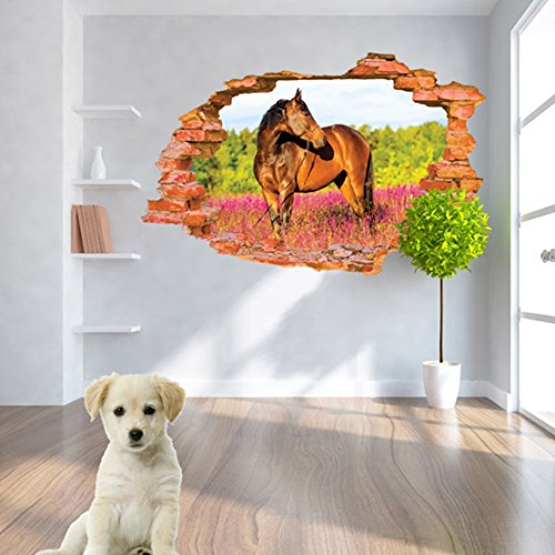 U-Shark® 3D Self-adhesive Removable Break Through the Wall Vinyl Wall Sticker/Mural Art Decals Decorator (8001H Horse(23.6