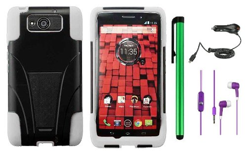 =>  MOTOROLA DROID MAXX XT1080M / Droid Ultra XT-1080 (Verizon) Premium T-Stand Protector Hard Cover Case + Car Charger + 3.5MM Stereo Earphones + 1 of New Metal Stylus Touch Screen Pen (White / Black)