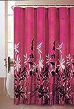NEW HOT PINK PRINTED LEAFS DESIGN LUXURY BATHROOM FABRIC SHOWER CURTIAN