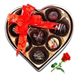 Valentine Chocholik's Belgium Chocolates - Seasonal Tasty Love Treats With Red Rose