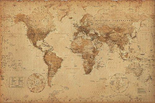 Weltkarte als Poster | Weltkarte im Retro-Look