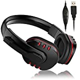 PS3 Headset with Mic, Elepawl USB Wired PC Gaming Headset Over Ear Headphones with Microphone for PlayStation 3 Games PC Computer