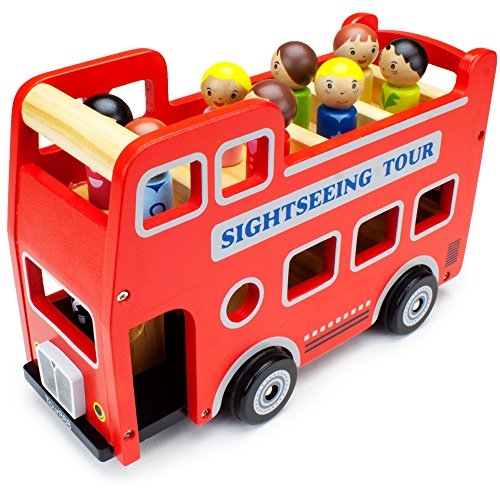 Wooden Wheels Double-Decker Red Tour Bus with 8 Tourists by Imagination Generation (Wood Toy Bus compare prices)