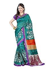 SAREE LAXMI Women's Cotton Silk Saree (Turquoise)