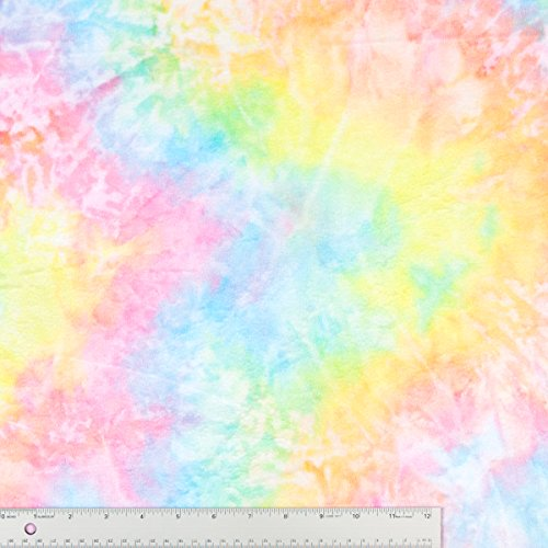 Tie Dye Rainbow Color Soft Plush Minky Fabric Sold By The Yard front-875560